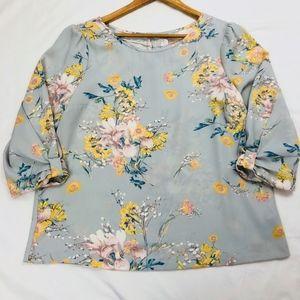 Lauren Conrad floral 3quarter sleeve blouse gray L